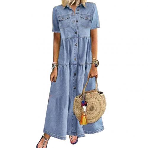 Plus Size 3xl Women Summer Denim Dress Retro Women Short Sleeve Turn Down Collar Pockets Button Long Loose Denim Dress 7