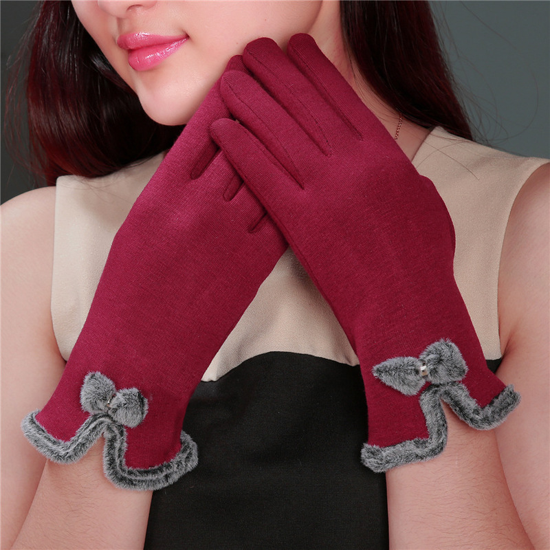 High Quality Elegant Women Screen Sense Wrist Wool Gloves Female Lovely Bow Mittens Girls Warm Winter Cashmere Gloves