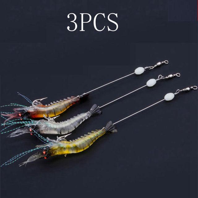 3 PCS Three Colors Simulation Lure Soft Bait Hooks To Hang Fake Shrimp Lure Bionic Shrimp With Luminous Shrimp shaped Soft Bait|Fishing Lures|   -
