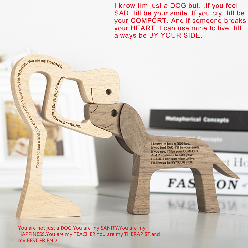 Wooden Dog Decoration Craft Figurine Family Puppy Table Ornament Wood Carving Model Creative Decoration For Lovely Gifts