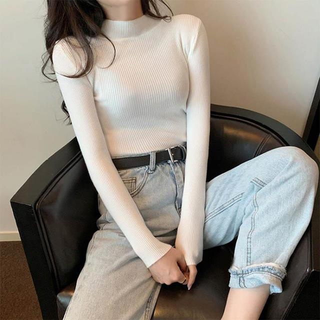 Women Sweaters Autumn Winter Turtleneck Long Sleeve Stretch Blue Knitted Pullovers Fashion Femme Soft Thin Jumper Tops 10 Colors 4