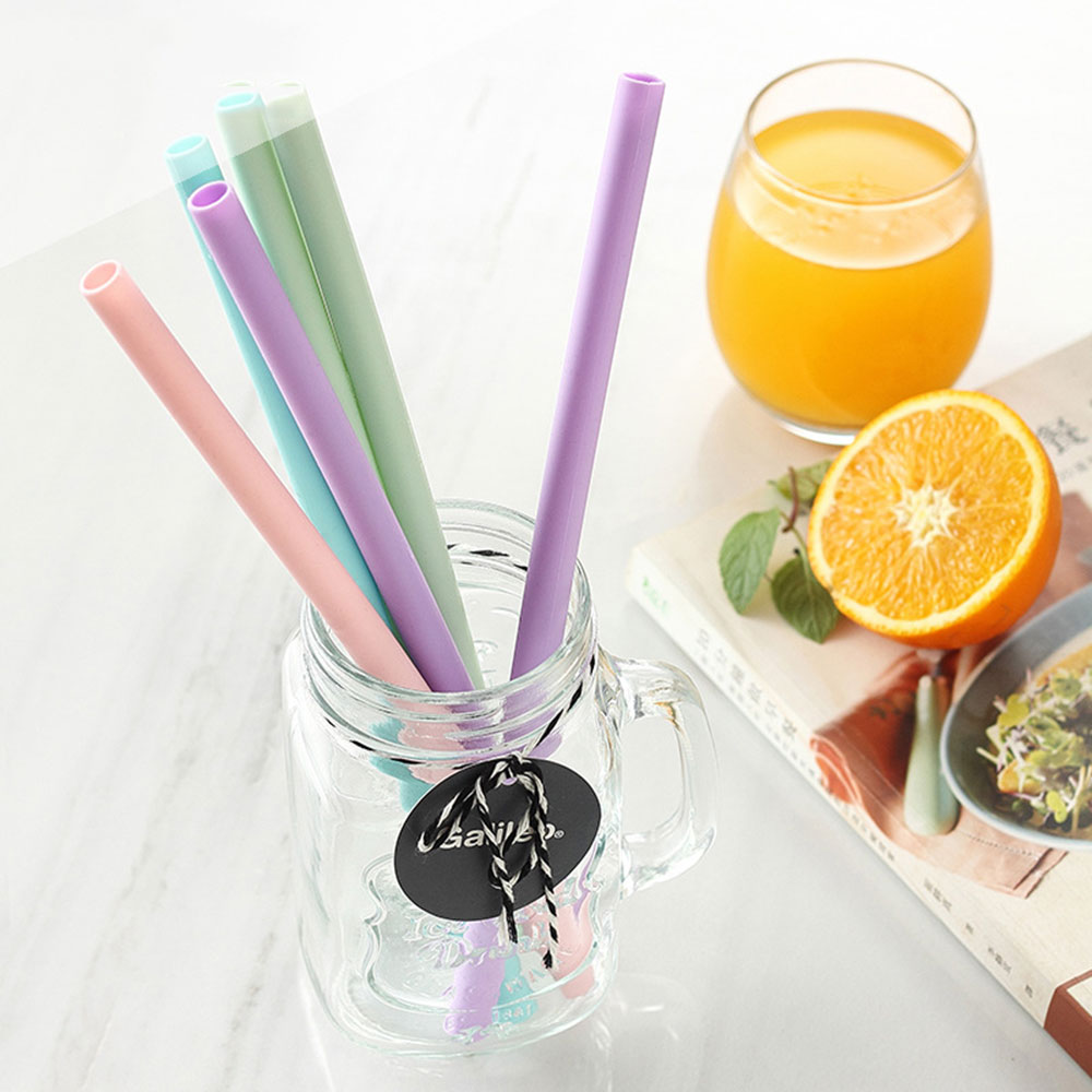 5Pcs/Set Reusable Silicone Drinking Straws Set, Extra Long Flexible Straws Bar Party Straws With Cleaning Brush And Cloth Bag
