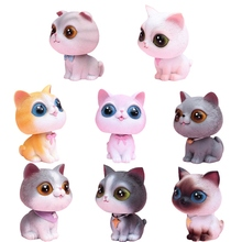 1pcs Car Decoration Shaking Head Doll Decoration Car Accessories Small Decoration Dog Puppy Cat Pet Figure Collectible Model Toy head shaking cute cat style toy for car decoration white