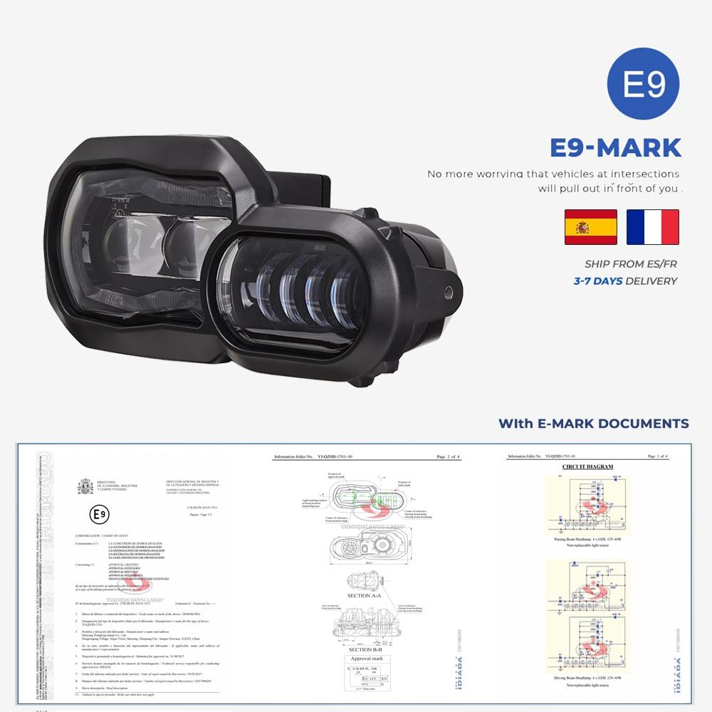 Jeu complet de phares de projecteurs LED, éclairage pour motocyclette, feux d'aventure, pour BMW F800GS, F800R, F700GS, F650GS