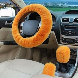 Image 1 - 100% lã trança na cobertura do volante do carro aperto do freio de mão/lã de alta qualidade pelúcia mudança de engrenagem colar