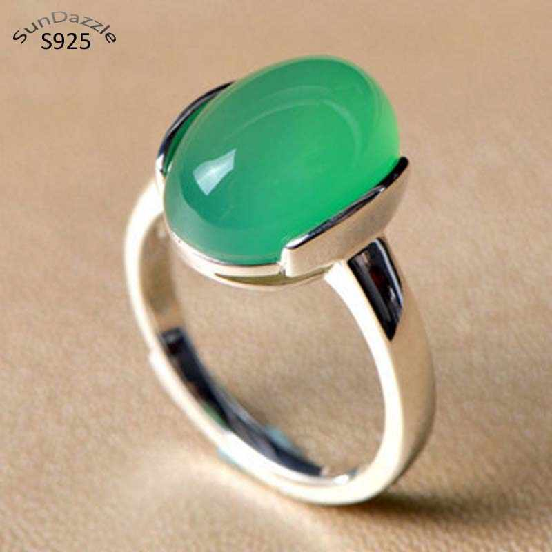 Genuine Real Pure Solid 925 Sterling Silver Rings for Women Green Fine Jewelry Natural Chrysoprase Female Silver Ring Gift