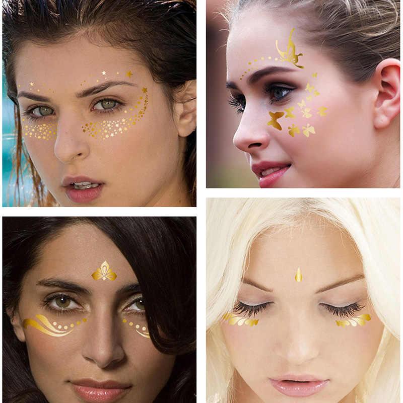 Ouro temporária rosto feminino metal tatuagem adesivo buterfly lua escala corrente jóias flash tatuagem corpo sílaba eletrônica festival
