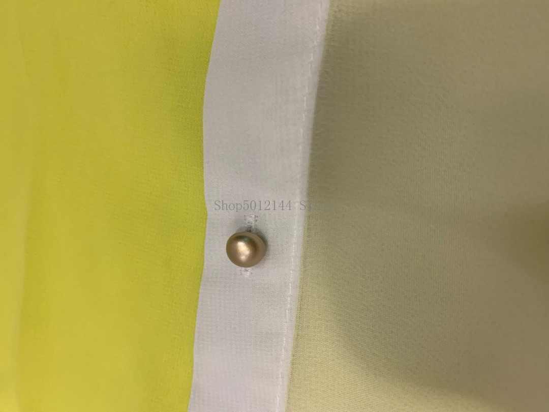Asimmetrico del Blocchetto di Colore A Maniche Lunghe Lunghe Camicetta Camicia Gialla Bianco Plus Size Sexy Trasparente di Grandi Dimensioni 4XL 5XL Donne Magliette E Camicette Autunno