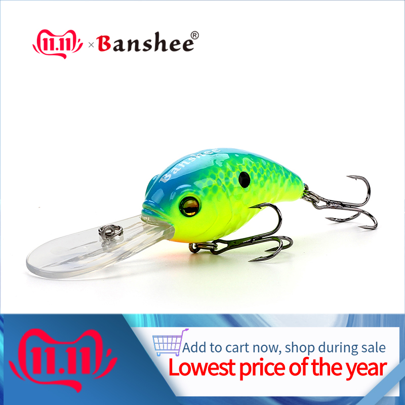 Banshee 50mm 10g deep diving crankbaits fishing trout/bass wobblers trolling fishing lure  Floating Hard Bait Rattle Sound baits