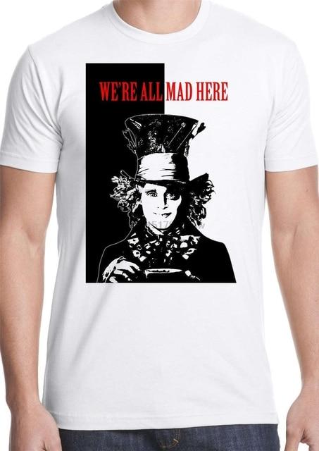 Wysokiej jakości koszule w nowym stylu szalony kapelusznik t shirt alicja w krainie czarów scarface wszystkie szalony królik patrząc szkło herbata druku koszulki O neck