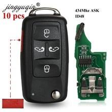 Jingyuqin 10 قطعة 7N0837202K 434 ميجا هرتز ID48 5 أزرار الوجه مفتاح فوب لشركة فولكس فاجن شاران Multivan كارافيل مفتاح السيارة التحكم عن بعد 5K0837202AD