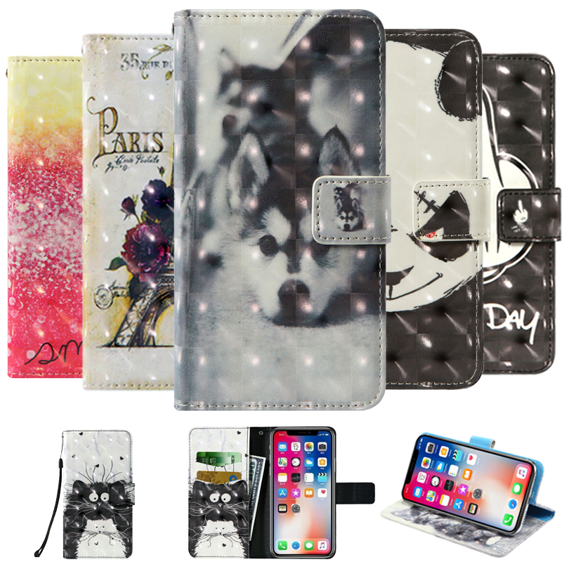 3D flip wallet Leather case For Alcatel 1 2019 AllCall S10 Blu G5 Plus G6 G8 BQ 5518G Jeans 5535L Strike Power Plus Phone Cases image