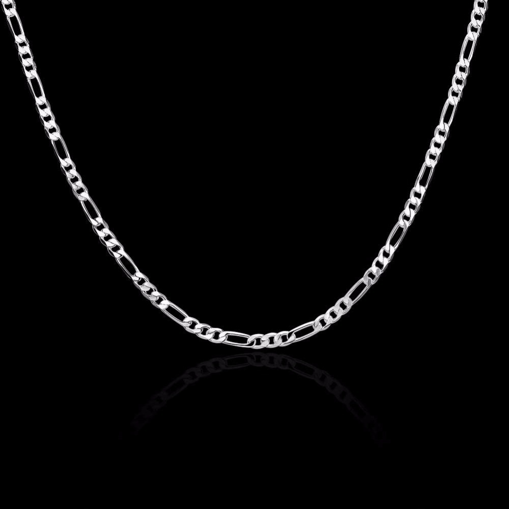 8 Sizes Available Real 925 Sterling Silver 4mm Figaro Chain Necklace Womens Mens Kids 40/45/50/60/75cm Jewelry Kolye Collares