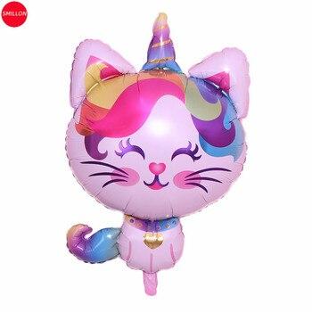 1 uds, nuevo, globo de película de aluminio con un solo cuerno para gato, decoraciones para fiesta de cumpleaños, globo para niños, decoración de habitación de niños, globo de helio