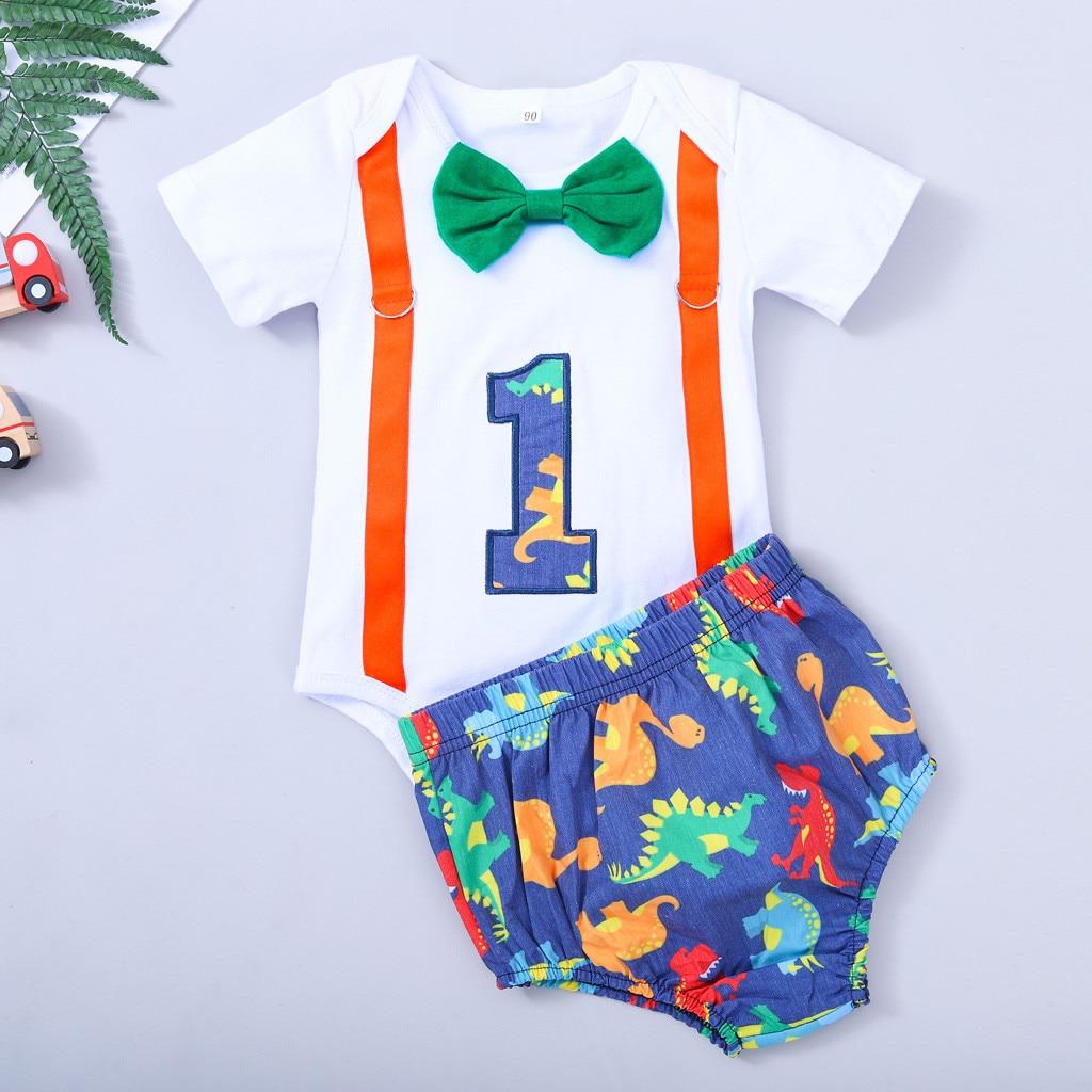 Bir yıl çocuk giysileri Set 1 yıl doğum günü yenidoğan erkek bebek giysileri papyon Bodysuit şort 2 adet beyefendi yenidoğan bebek giyim