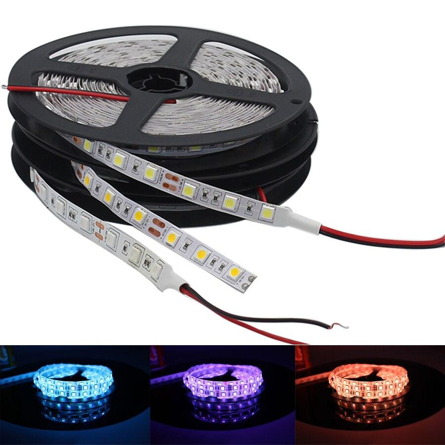 Taśma Led Light DC 5V 12V 24 V stripped RGB PC wodoodporna 5050 5M kolorowe diody led 5 12 24 V taśma LedStrip lampa podświetlenie Tv