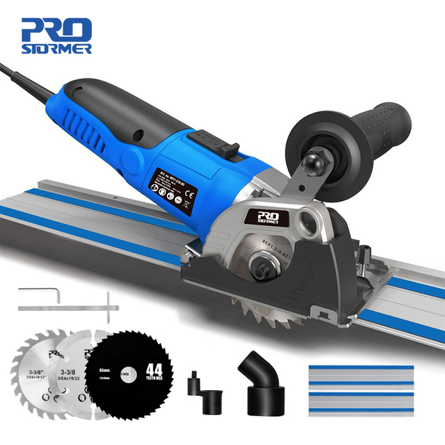 120V/230V Mini Circular Saw 500W Plunge Cut Track Cutting Wood Metal Tile Cutter 3 Blades Electric Saw Power Tool by PROSTORMER 1