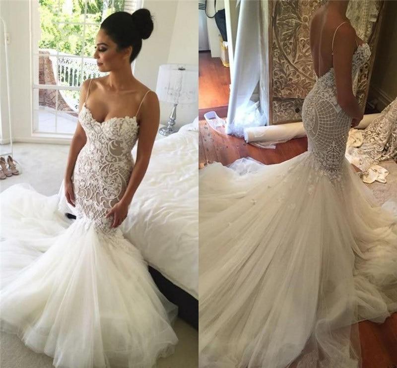 Robe De Mariee QUEEN BRIDAL 2020 Sexy Mermaid Backless Wedding Dress Vestidos De Novias Custom Made Wedding Gown