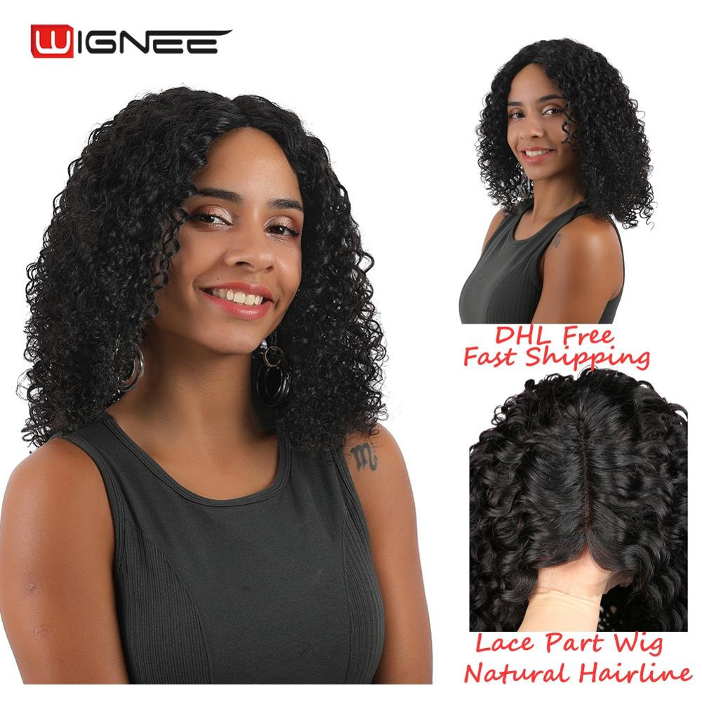 Wignee Kinky Curly Lace Part Human Hair Wigs For Women High Density 150% Brazilian Hair Preplucked And Bleached Knots Lace Wig