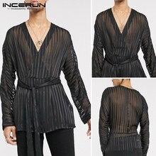 Mesh Shirt Long-Sleeve See-Through INCERUN Party Nightclub Sexy Fashion V-Neck Belt Solid