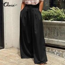 Pantalon Large femme 2021 Celmia Mode Taille Haute Plissée Pantalon Décontracté Poches Longues Palazzo Solide Travail Pantalon Grande Taille