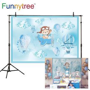 Image 2 - Funnytree熱気球背景写真撮影飛行機クマ冒険1st誕生の背景ベビーシャワー少年パーティーの装飾ビニール
