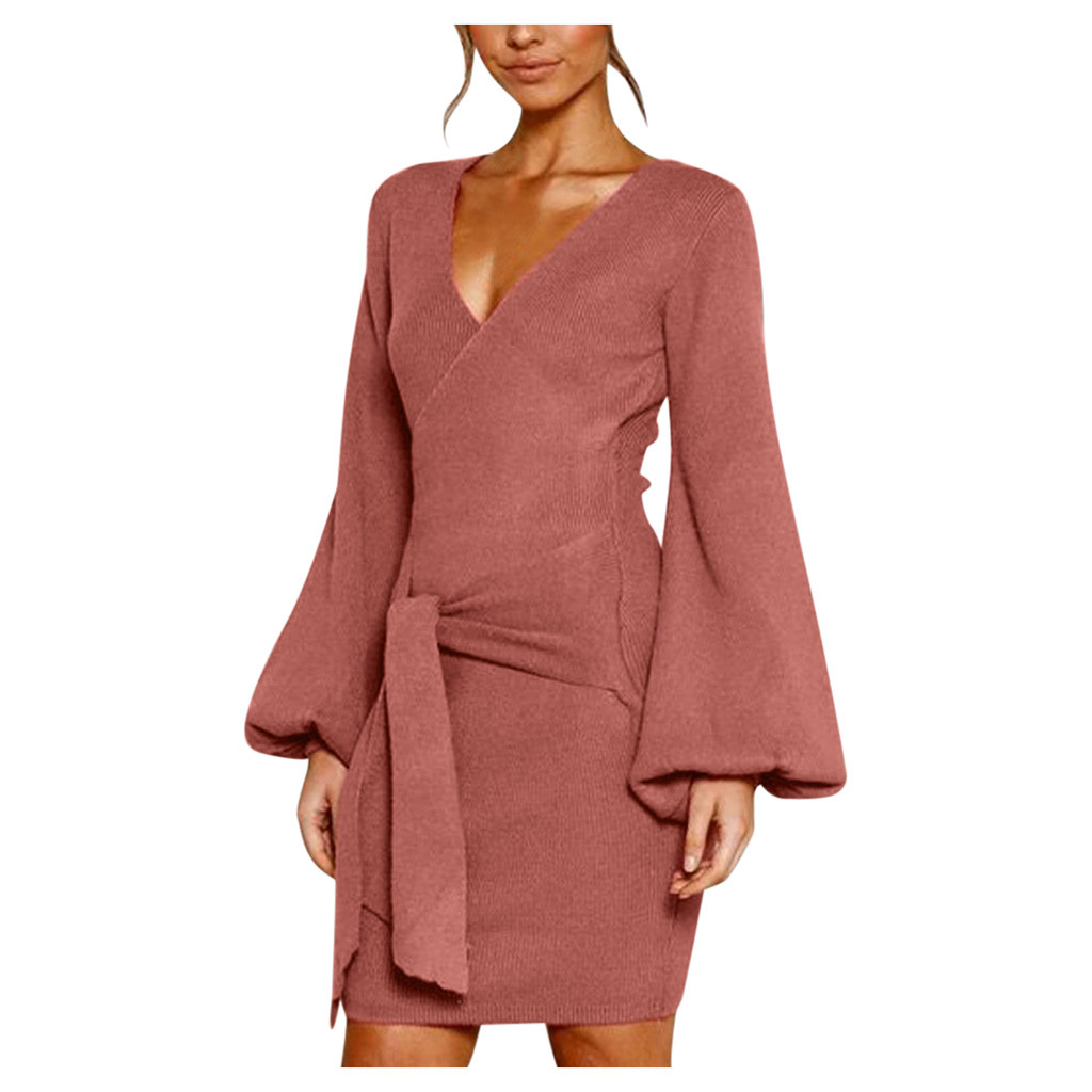 vestidos ropa mujer plus size women dress Ladies Long Sleeve Wool plus size dresses woman party night sukienki robe hiver femme