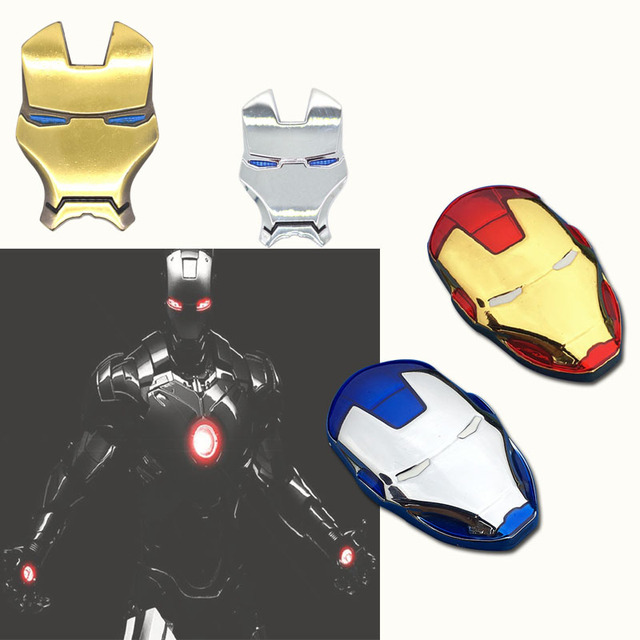 3D Auto Chrome Metal Iron Man Car Emblem Stickers Logo Decoration The Avengers For Car Styling Decals Exterior Accessories