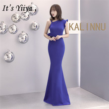 Evening-Dress Formal-Gown Robe-De-Soiree Mermaid Royal-Blue Elegant One-Shoulder Plus-Size