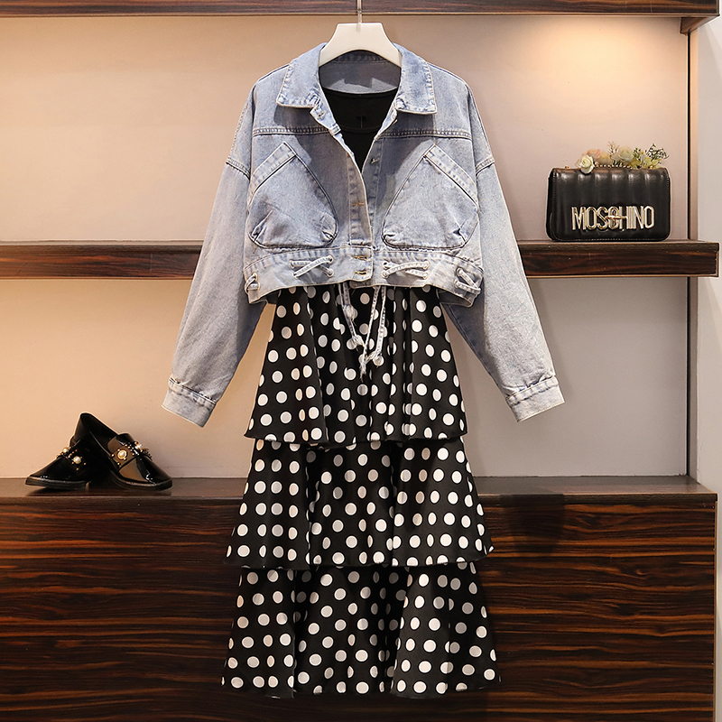Large Size S-5XL 2020 Spring New Fat Mm Large Pocket Short Section Was Thin Denim Jacket And Coat   Dress Two-piece