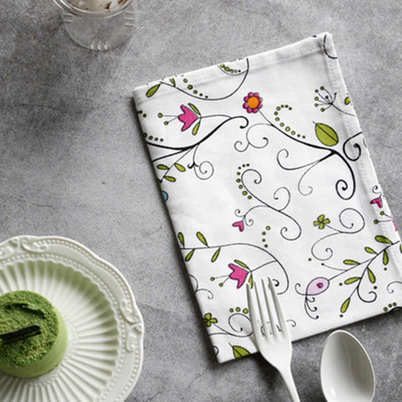 목화 테이블 냅킨 플레이스 매트 동물 식물 차 냅킨 절연 패드 흡수 접시 청소 타월 식탁 매트