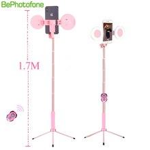 1,7 м, Выдвижной Штатив для селфи, светодиодный штатив, двойной светильник, зеркальная стойка, 4 в 1, крепление для телефона для iPhone X 8, Android