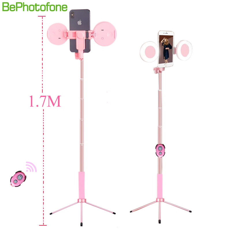 1.7m Extendable live Tripod Selfie Stick Support LED Ring Dual light mirror Stand 4 in 1 Phone Mount for iPhone X 8 Android