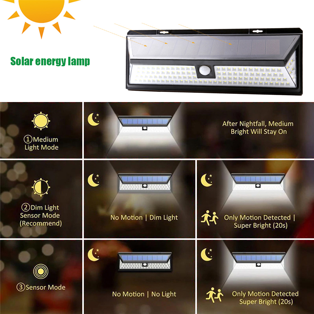 118 led 3 modos de energia solar