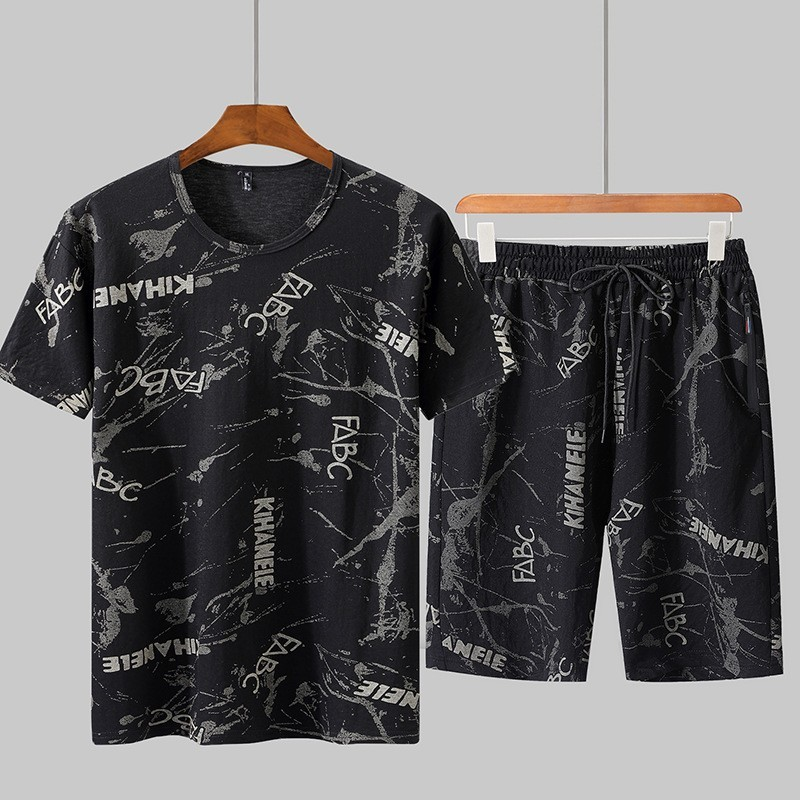 Summer 2020 New Men Harajuku Printed Two Piece Set Casual Shorts Outside Jogging Tracksuit Plus Size 9XL Gym Suit Streetwear