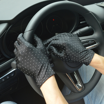 Summer  Gloves Women With Sun Protection Anti-UV Short Driving Glove Autumn Elastic Thin Etiquette Mitten Black Gold Colour