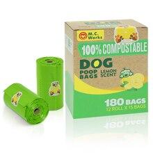 Bolsas de basura para perros 100% compostables,extra gruesas,12 rollos de recambio, 180 unidadesaroma de limón,