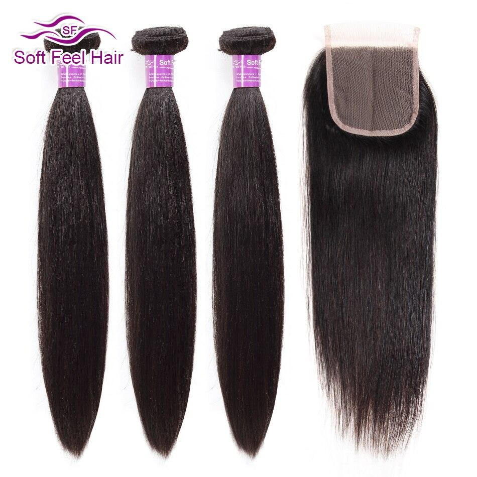 Soft Feel Hair Straight Hair Bundles With Closure Malaysian Hair With Closure Remy Human Hair 3 Bundles With Closure Three Part