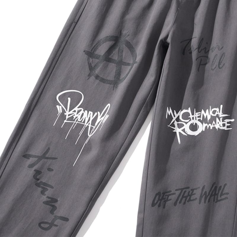 Aolamegs Sweatpants Graffiti Letter Drawstring Joggers Pants Men Elastic Waist Track Trousers Harajuku Hip Hop Style Streetwear