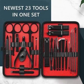 Complete 23 Pieces Stainless steel Manicure Set Pedicure kit Scissor Tweezer Ear pick Utility Toe Nail Clipper Facial Care Tool