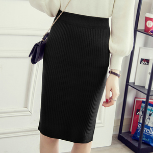 Image 3 - Womens Pencil skirt New Knitted Autumn Winter Thick High Waist Women Skirts Female Young Girl Cold Large Size Japan Falda