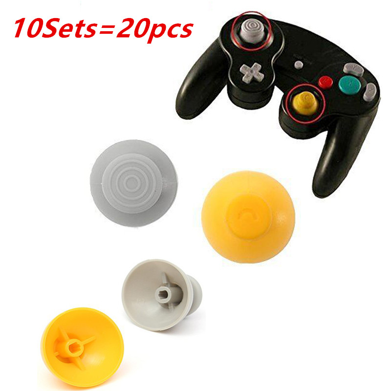 20pcs 10 Sets Replacement Joystick Thumb Stick Cap Yellow Gray Worn Out Analog Cap For NGC Gamecube gamecube GC controller