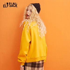 Image 3 - ELFSACK Yellow Cartoon Print Casual Pullover Sweatshirt Women Clothes 2020 Spring New Long Sleeve Ladies Korean Daily Work Tops