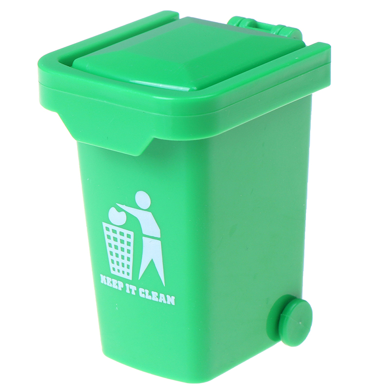 Green Color ABS 1:12 Dollhouse Miniature Trash Garbage Can Toys Home Decoration Trash Can Dollhouse Accessories 4.2*5.5*6.5cm