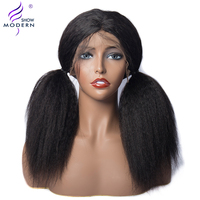Kinky Straight Lace Front Human Hair Wigs Pre Plucked with Baby Hair 150% Density Italian Remy Yaki Wig Modern Show Hair