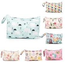 Baby Diaper Bag Printed Waterproof Wet Dry Nappy Zipper Handbag Stroller Carry Pack Travel Outdoor Wet Diaper Storage Bag Pocket
