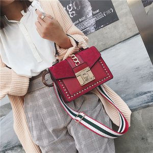 Image 2 - Small Handbags Fashion Shoulder Bags for Women 2020 Frosted PU Leather Hand Bags Rivet Chain Flap Ladies Crossbody Bag Red Brown