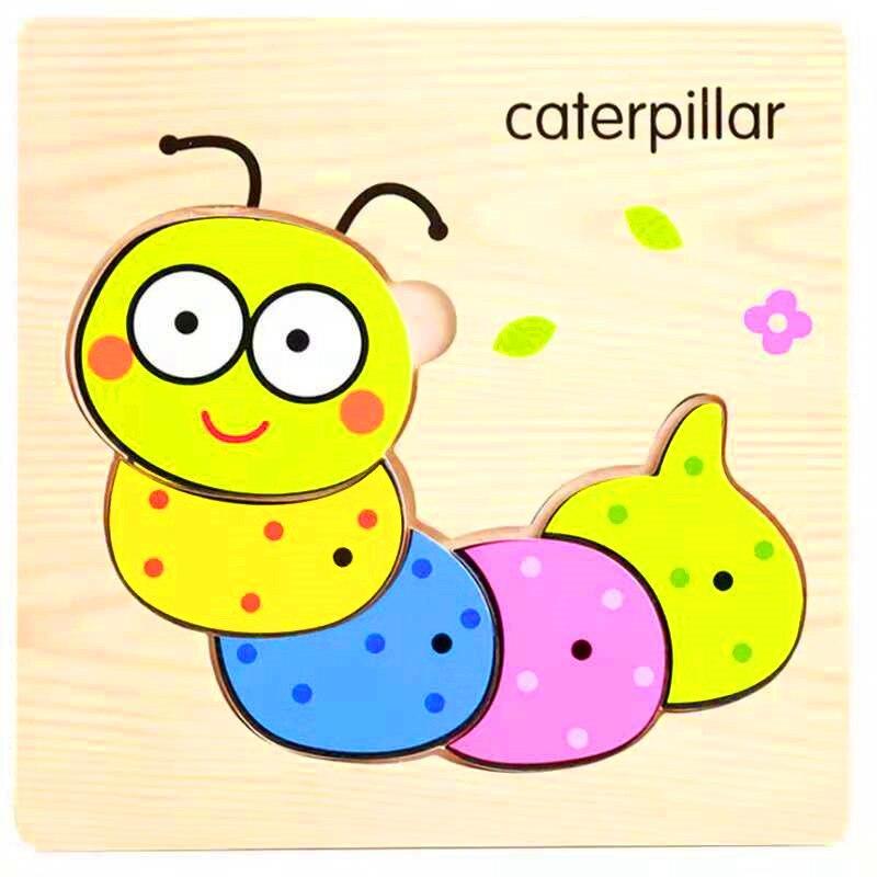3D деревянные головоломки, игрушки для детей, Деревянные 3d Мультяшные головоломки с животными, интеллектуальные детские развивающие игрушки для детей - Цвет: Флуоресцентный зеленый