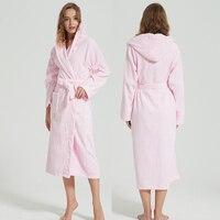 Women Bathrobe Cotton Winter Robes Thicken Unisex Nightgown Bridesmaid Home Service Towel Fleece Warm Long sleeved Belt Bathrobe