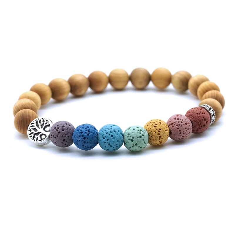 Wooden Beads Tree of Life 7 Chakras 8mm Colorful Lava Stone Aromatherapy Essential Oil Diffuser Bracelet Yoga Women Men Jewelry